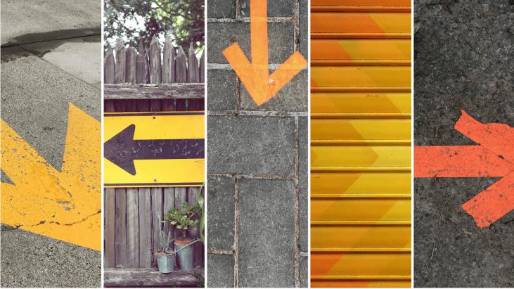 Indécision, flèche, faire un choix, direction