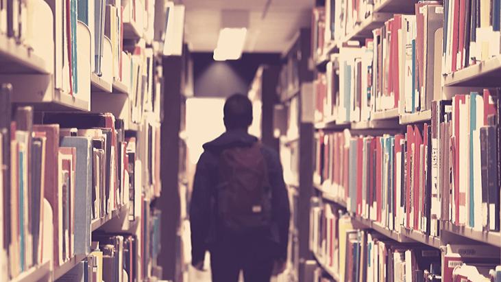 bibliotheque, jeune, garcon, livre, ecole